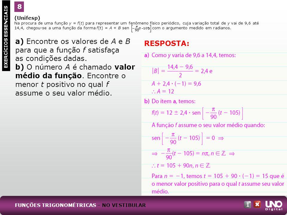 (Unifesp) Na procura de uma função y = f(t) para representar um fenômeno físico periódico, cuja variação total de y vai de 9,6 até 14,4, chegou-se a u