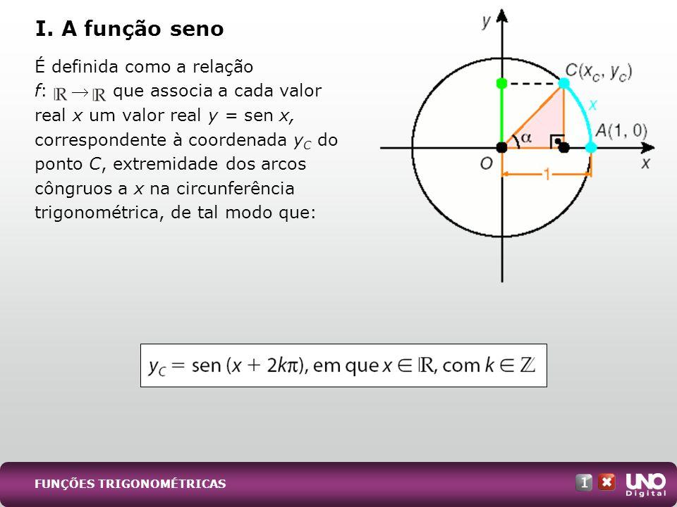 FUNÇÕES TRIGONOMÉTRICAS É definida como a relação f: que associa a cada valor real x um valor real y = sen x, correspondente à coordenada y C do ponto