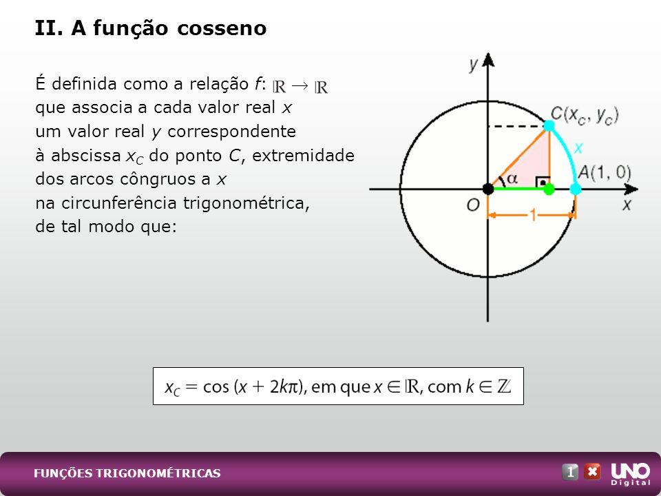 É definida como a relação f: que associa a cada valor real x um valor real y correspondente à abscissa x C do ponto C, extremidade dos arcos côngruos