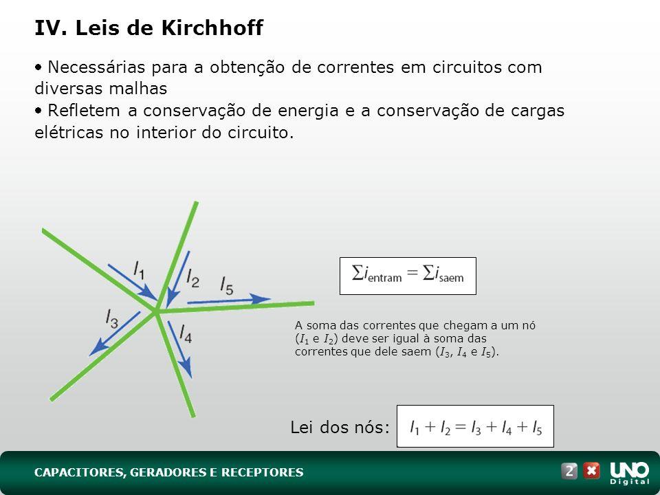 IV. Leis de Kirchhoff Necessárias para a obtenção de correntes em circuitos com diversas malhas Refletem a conservação de energia e a conservação de c