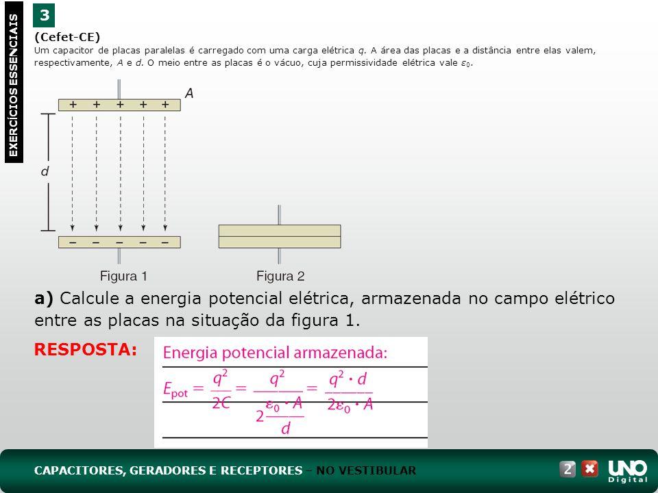 (Cefet-CE) Um capacitor de placas paralelas é carregado com uma carga elétrica q. A área das placas e a distância entre elas valem, respectivamente, A