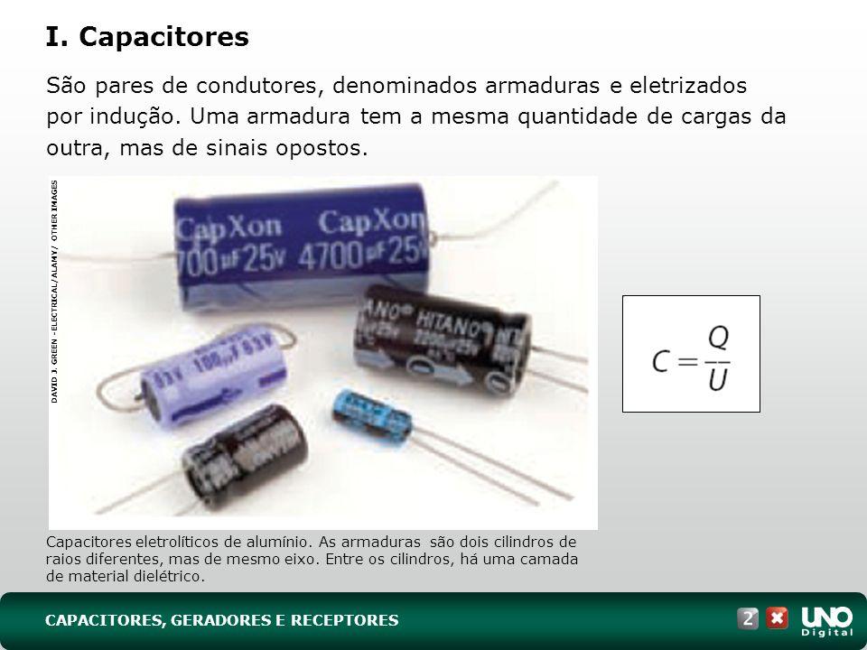 CAPACITORES, GERADORES E RECEPTORES I. Capacitores São pares de condutores, denominados armaduras e eletrizados por indução. Uma armadura tem a mesma