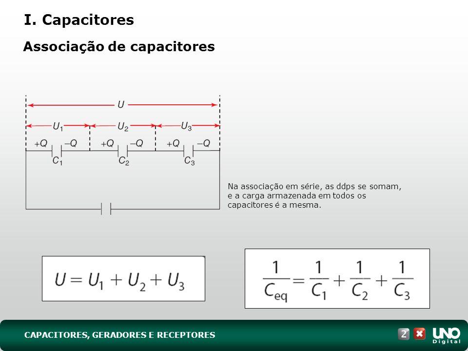 Associação de capacitores Na associação em série, as ddps se somam, e a carga armazenada em todos os capacitores é a mesma. I. Capacitores CAPACITORES