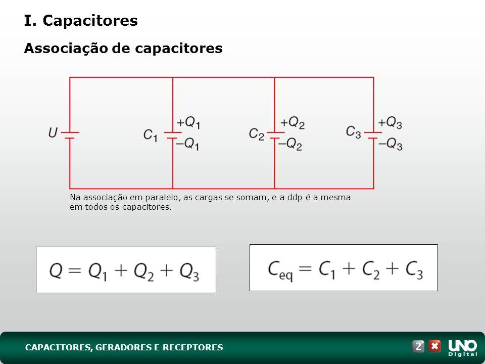 Na associação em paralelo, as cargas se somam, e a ddp é a mesma em todos os capacitores. CAPACITORES, GERADORES E RECEPTORES I. Capacitores Associaçã