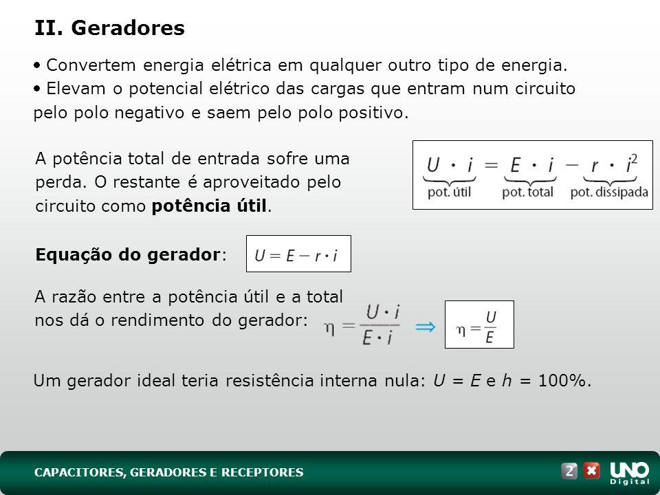 II. Geradores Convertem energia elétrica em qualquer outro tipo de energia. Elevam o potencial elétrico das cargas que entram num circuito pelo polo n