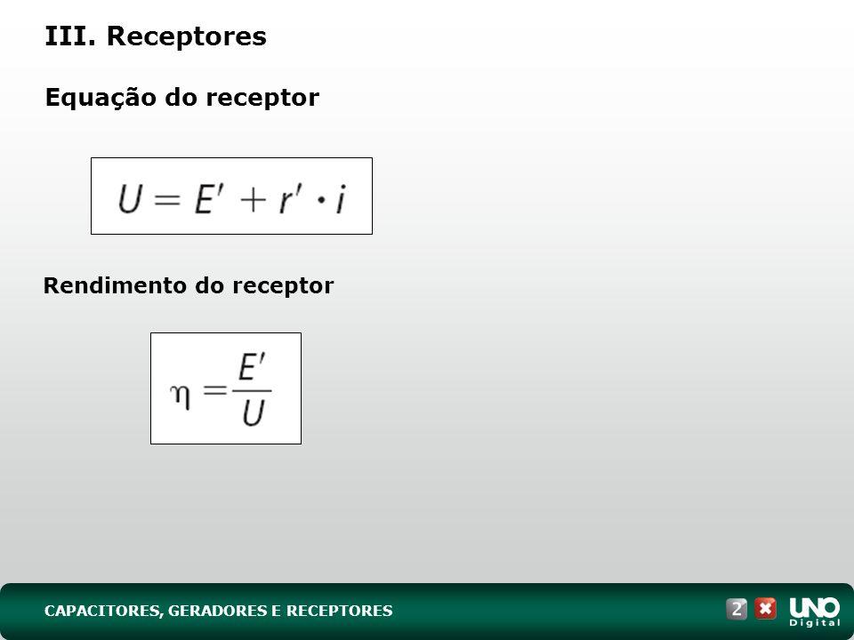 III. Receptores Equação do receptor Rendimento do receptor CAPACITORES, GERADORES E RECEPTORES