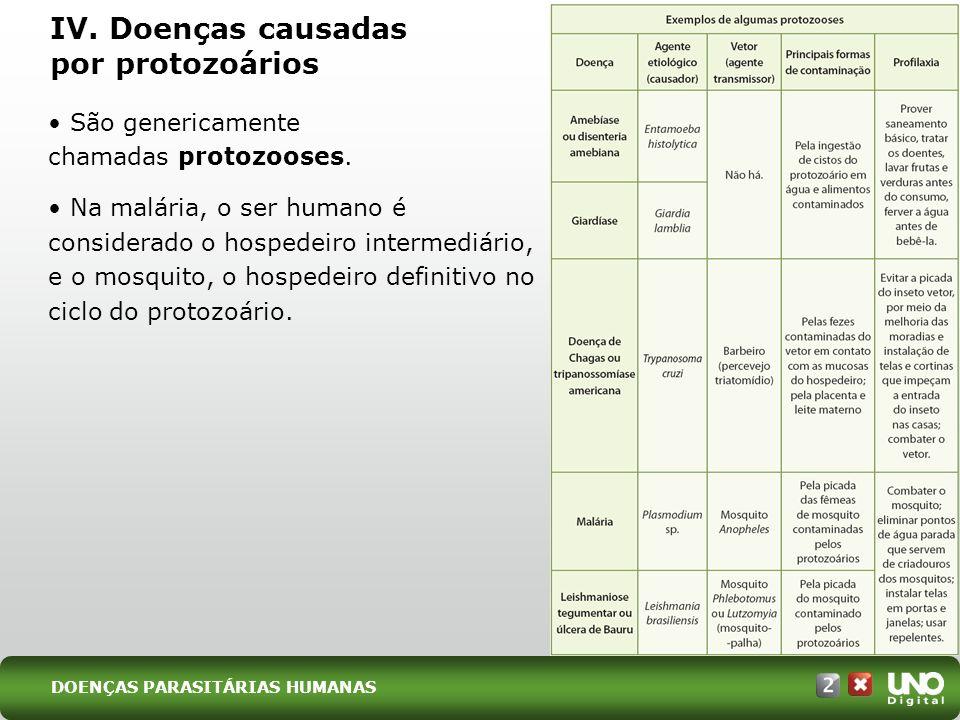 IV.Doenças causadas por protozoários São genericamente chamadas protozooses.