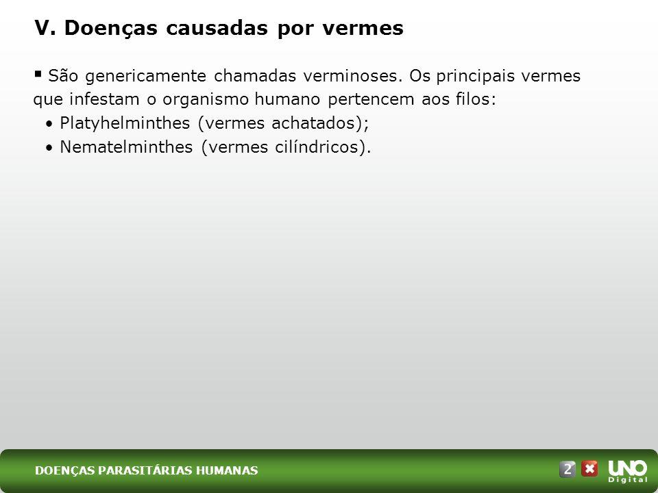 V.Doenças causadas por vermes São genericamente chamadas verminoses.