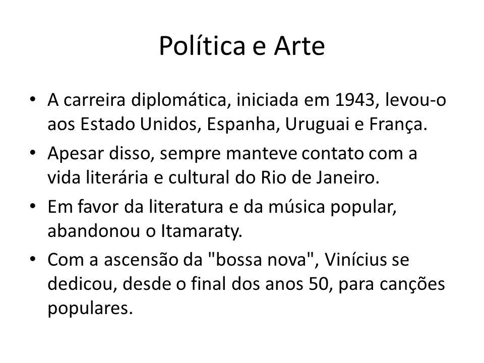 Política e Arte A carreira diplomática, iniciada em 1943, levou-o aos Estado Unidos, Espanha, Uruguai e França. Apesar disso, sempre manteve contato c