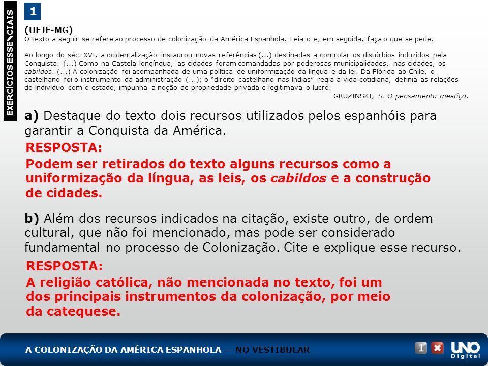 (UFJF-MG) O texto a seguir se refere ao processo de colonização da América Espanhola. Leia-o e, em seguida, faça o que se pede. Ao longo do séc. XVI,