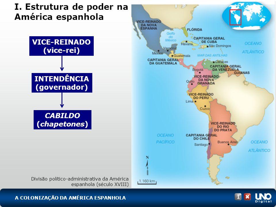 I. Estrutura de poder na América espanhola Divisão político-administrativa da América espanhola (século XVIII) VICE-REINADO (vice-rei) INTENDÊNCIA (go