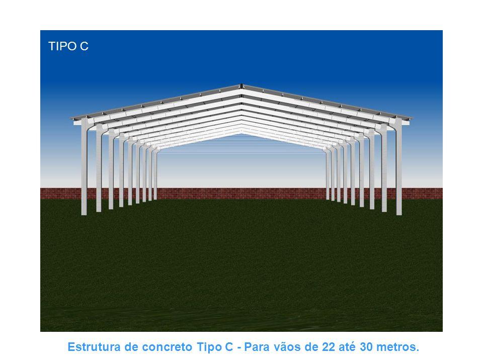 TIPO C Estrutura de concreto Tipo C - Para vãos de 22 até 30 metros.