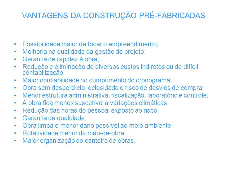VANTAGENS DA CONSTRUÇÃO PRÉ-FABRICADAS Possibilidade maior de focar o empreendimento; Melhoria na qualidade da gestão do projeto; Garantia de rapidez