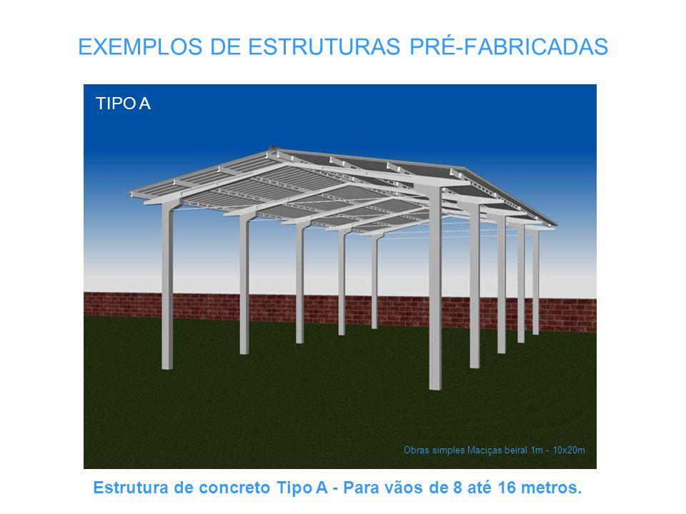 EXEMPLOS DE ESTRUTURAS PRÉ-FABRICADAS Obras simples Maciças beiral 1m - 10x20m TIPO A Estrutura de concreto Tipo A - Para vãos de 8 até 16 metros.