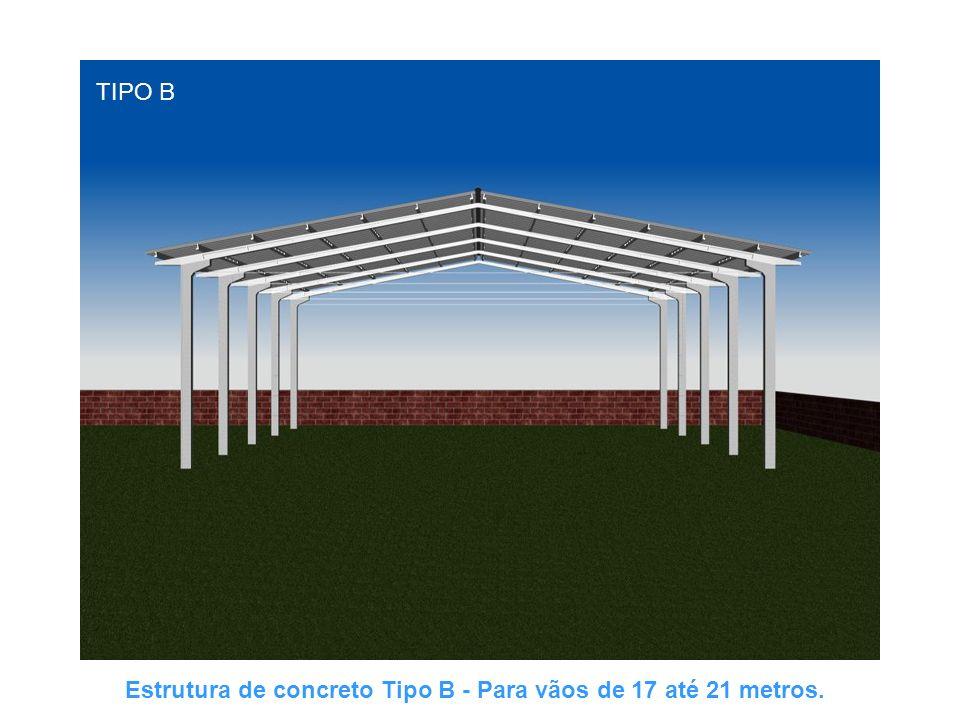 TIPO B Estrutura de concreto Tipo B - Para vãos de 17 até 21 metros.