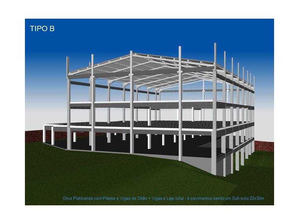 TIPO B Obra Platibanda com Pilares e Vigas de Oitão + Vigas e Laje total - 4 pavimentos sendo um Sub-solo 22x30m
