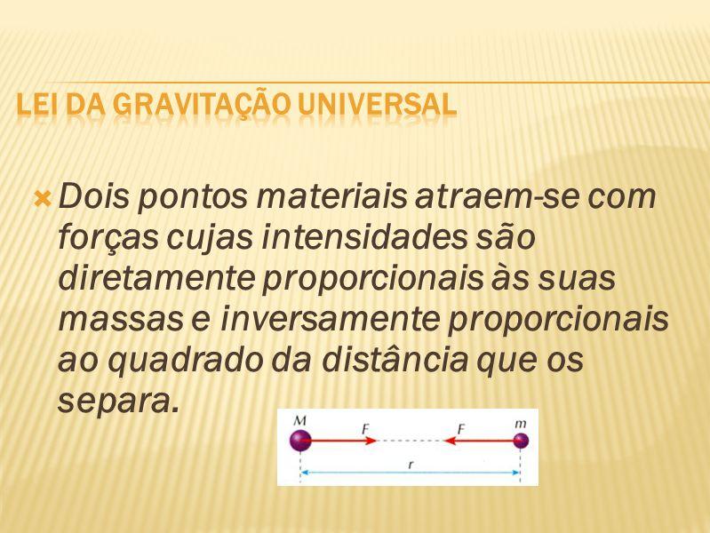 Dois pontos materiais atraem-se com forças cujas intensidades são diretamente proporcionais às suas massas e inversamente proporcionais ao quadrado da