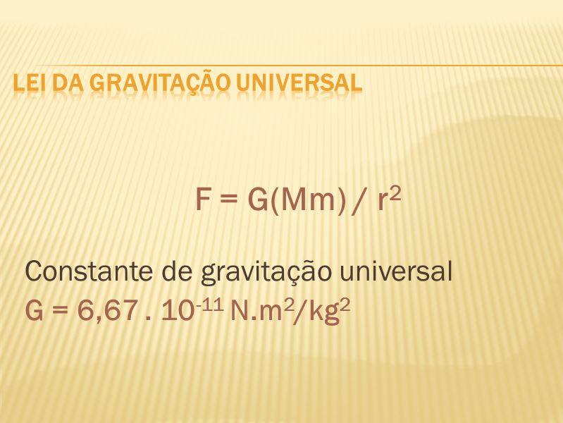 F = G(Mm) / r 2 Constante de gravitação universal G = 6,67. 10 -11 N.m 2 /kg 2