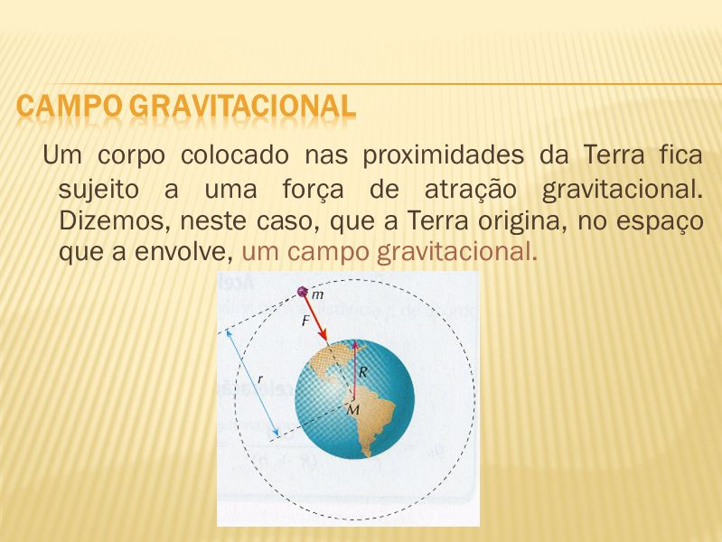 Um corpo colocado nas proximidades da Terra fica sujeito a uma força de atração gravitacional. Dizemos, neste caso, que a Terra origina, no espaço que