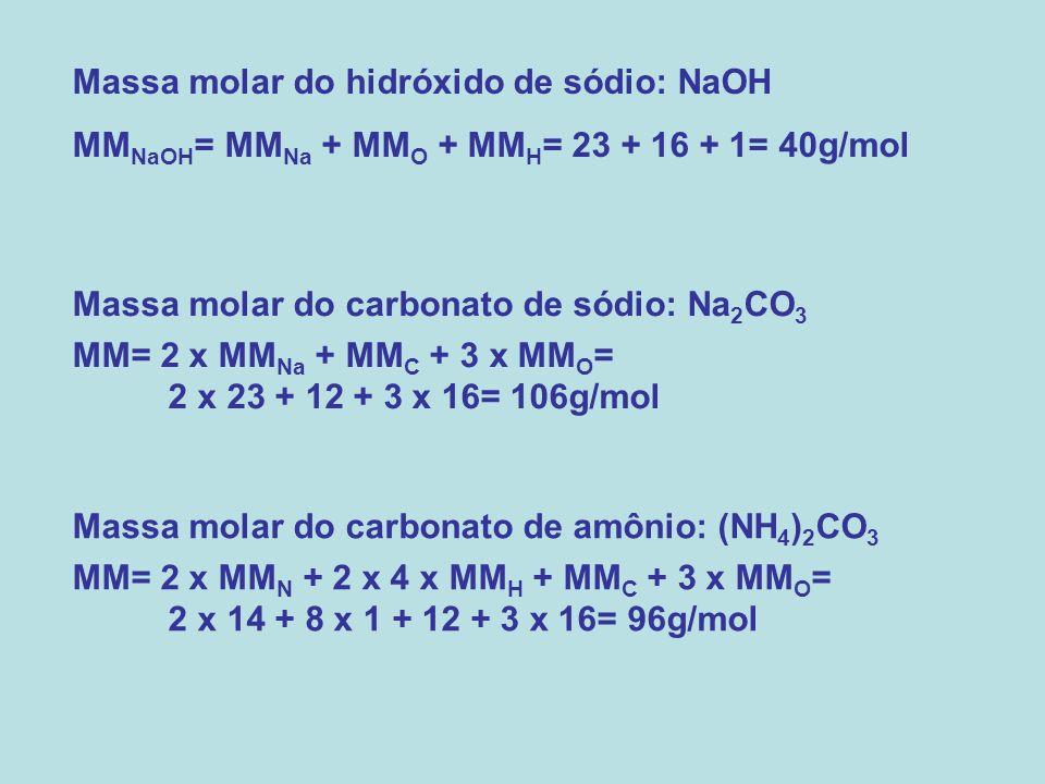 Massa molar do hidróxido de sódio: NaOH MM NaOH = MM Na + MM O + MM H = 23 + 16 + 1= 40g/mol Massa molar do carbonato de sódio: Na 2 CO 3 MM= 2 x MM N