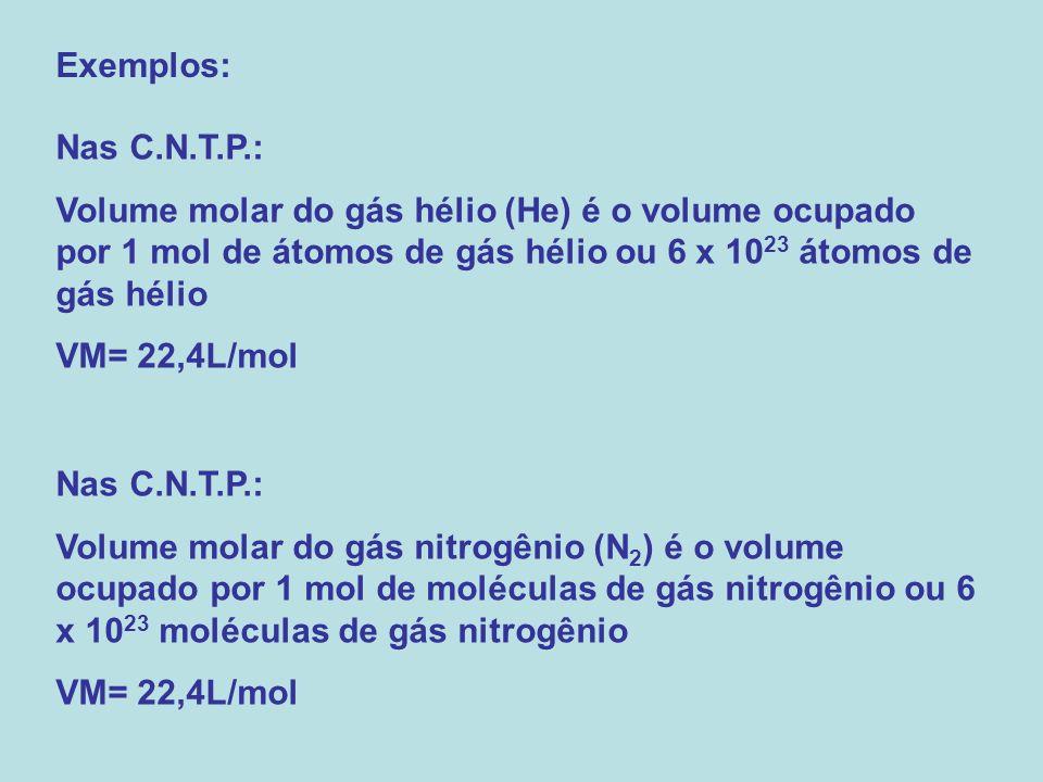 Nas C.N.T.P.: Volume molar do gás hélio (He) é o volume ocupado por 1 mol de átomos de gás hélio ou 6 x 10 23 átomos de gás hélio VM= 22,4L/mol Nas C.