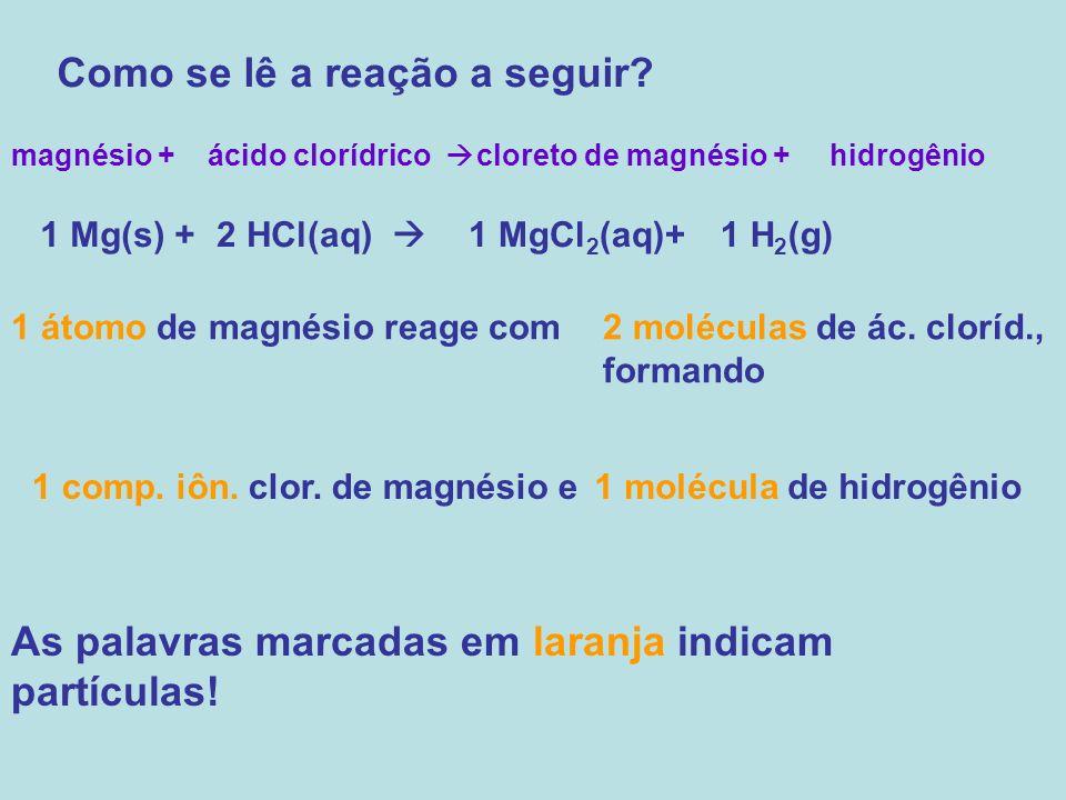 Como se lê a reação a seguir? magnésio +ácido clorídrico cloreto de magnésio +hidrogênio 1 Mg(s) +2 HCl(aq) 1 MgCl 2 (aq)+1 H 2 (g) 1 átomo de magnési