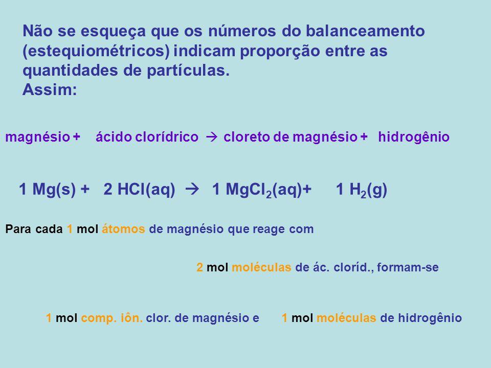 Não se esqueça que os números do balanceamento (estequiométricos) indicam proporção entre as quantidades de partículas. Assim: magnésio +ácido clorídr