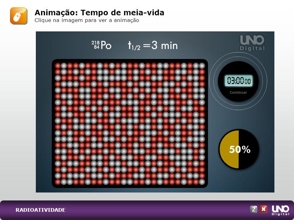 Animação: Tempo de meia-vida Clique na imagem para ver a animação RADIOATIVIDADE