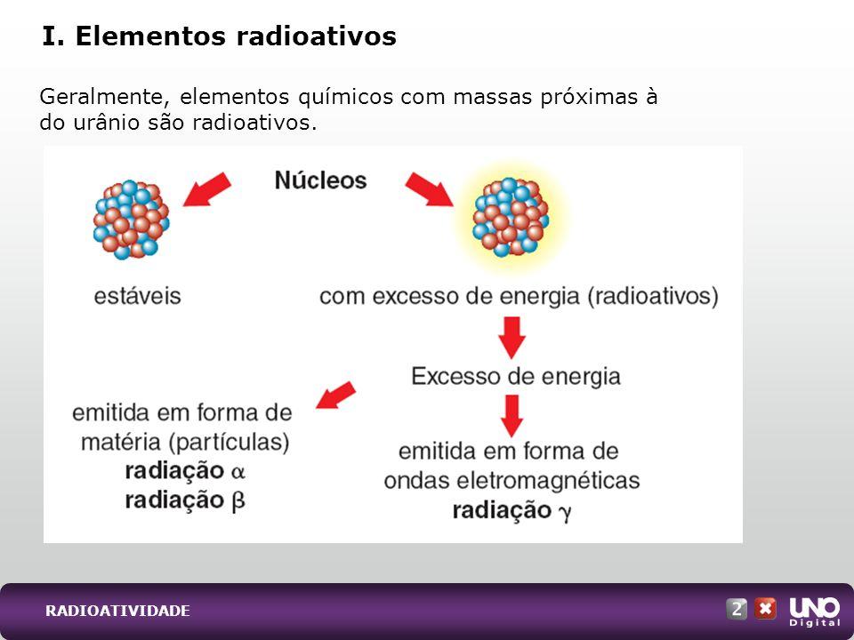 RADIOATIVIDADE Geralmente, elementos químicos com massas próximas à do urânio são radioativos. I. Elementos radioativos