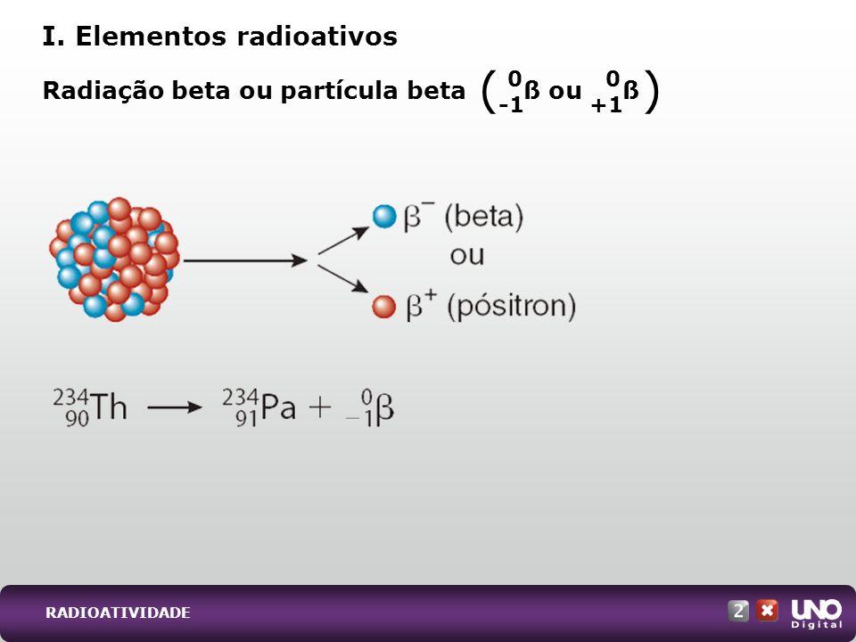 Radiação beta ou partícula beta ß ou ß I. Elementos radioativos 0 +1 ( ) 0 RADIOATIVIDADE