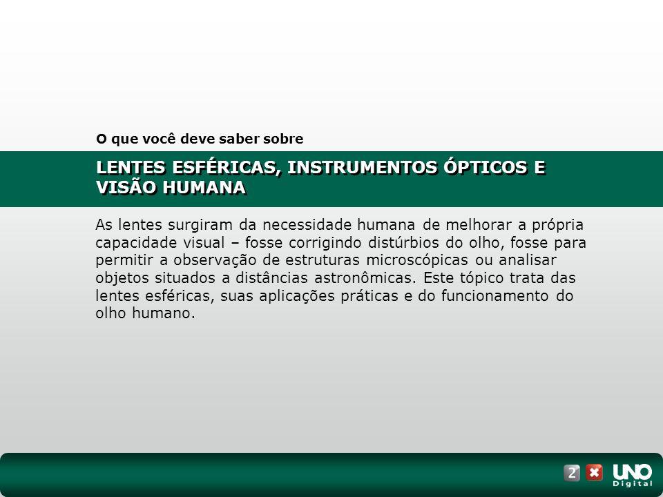 LENTES ESFÉRICAS, INSTRUMENTOS ÓPTICOS E VISÃO HUMANA I.