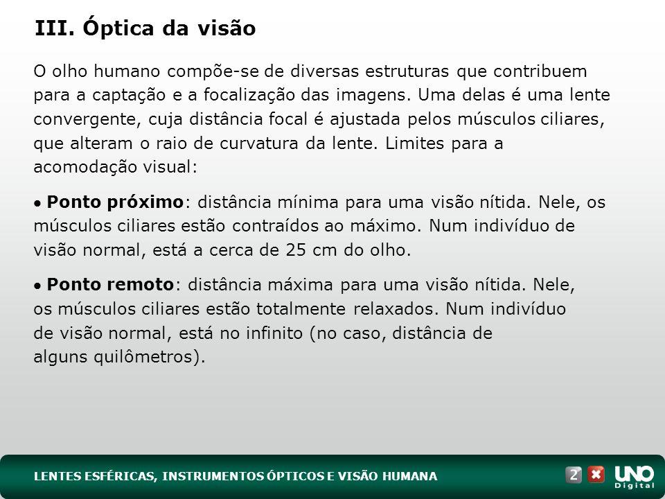 III. Óptica da visão O olho humano compõe-se de diversas estruturas que contribuem para a captação e a focalização das imagens. Uma delas é uma lente
