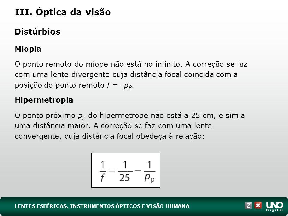 Distúrbios Miopia O ponto remoto do míope não está no infinito.