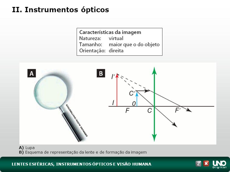 II. Instrumentos ópticos A) Lupa B) Esquema de representação da lente e de formação da imagem GJERMUND ALSOS/SHUTTERSTOCK LENTES ESFÉRICAS, INSTRUMENT