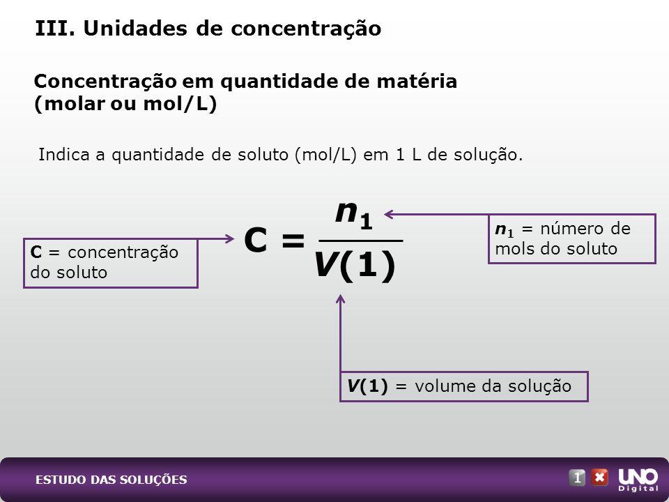 Indica a quantidade de soluto (mol/L) em 1 L de solução. III. Unidades de concentração n 1 V(1) C = concentração do soluto V(1) = volume da solução n