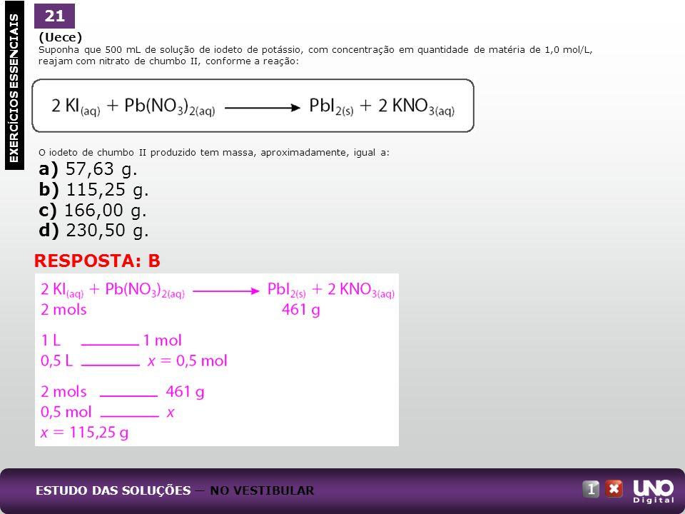 (Uece) Suponha que 500 mL de solução de iodeto de potássio, com concentração em quantidade de matéria de 1,0 mol/L, reajam com nitrato de chumbo II, c