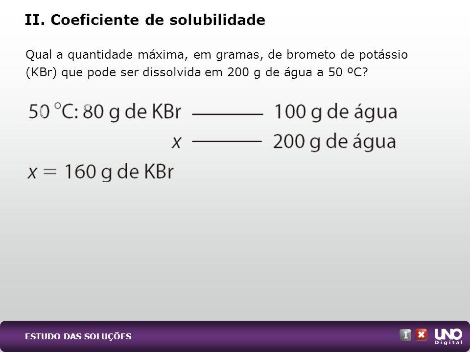 II. Coeficiente de solubilidade Qual a quantidade máxima, em gramas, de brometo de potássio (KBr) que pode ser dissolvida em 200 g de água a 50 ºC? ES