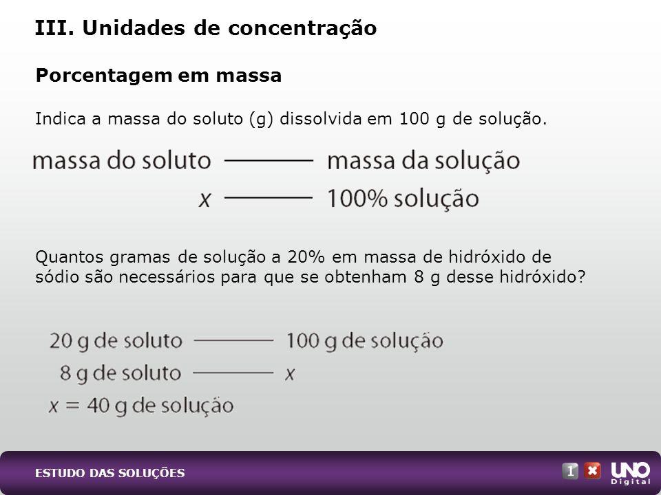 Porcentagem em massa Indica a massa do soluto (g) dissolvida em 100 g de solução. Quantos gramas de solução a 20% em massa de hidróxido de sódio são n
