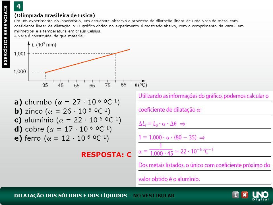 (Olimpíada Brasileira de Física) Em um experimento no laboratório, um estudante observa o processo de dilatação linear de uma vara de metal com coeficiente linear de dilatação.