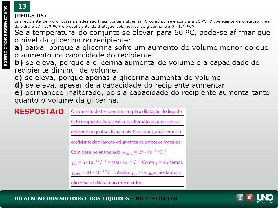 (UFRGS-RS) Um recipiente de vidro, cujas paredes são finas, contém glicerina.