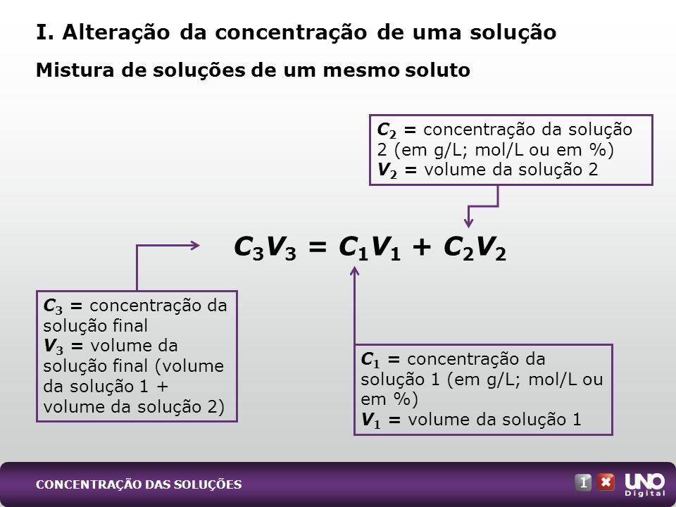 Dados: A: 100 mL de hidróxido de sódio de concentração 0,3 mol/L B: 400 mL de hidróxido de sódio de concentração 0,1 mol/L Ao misturar as soluções A e B, obtemos uma solução C.