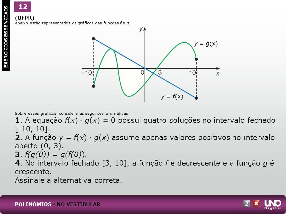 (UFPR) Abaixo estão representados os gráficos das funções f e g. Sobre esses gráficos, considere as seguintes afirmativas: 1. A equação f(x). g(x) = 0