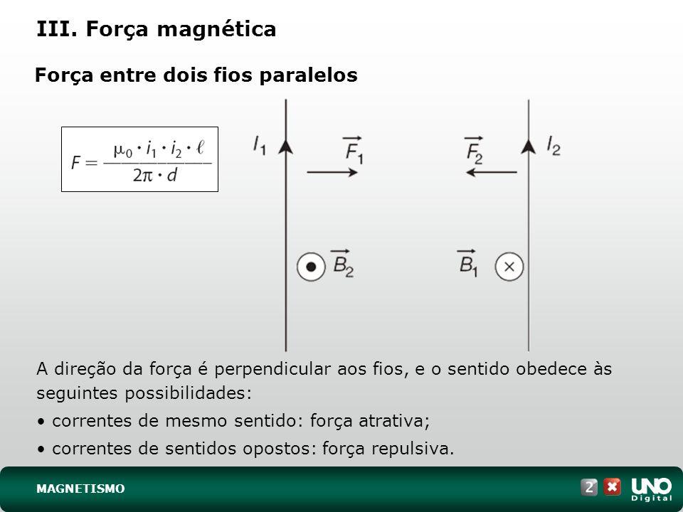 Força entre dois fios paralelos A direção da força é perpendicular aos fios, e o sentido obedece às seguintes possibilidades: correntes de mesmo senti