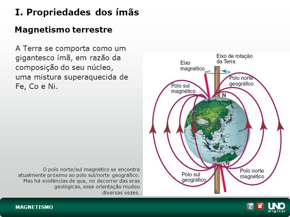 Magnetismo terrestre A Terra se comporta como um gigantesco ímã, em razão da composição do seu núcleo, uma mistura superaquecida de Fe, Co e Ni. O pol