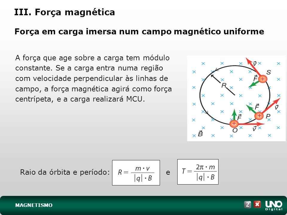 Força em carga imersa num campo magnético uniforme A força que age sobre a carga tem módulo constante. Se a carga entra numa região com velocidade per