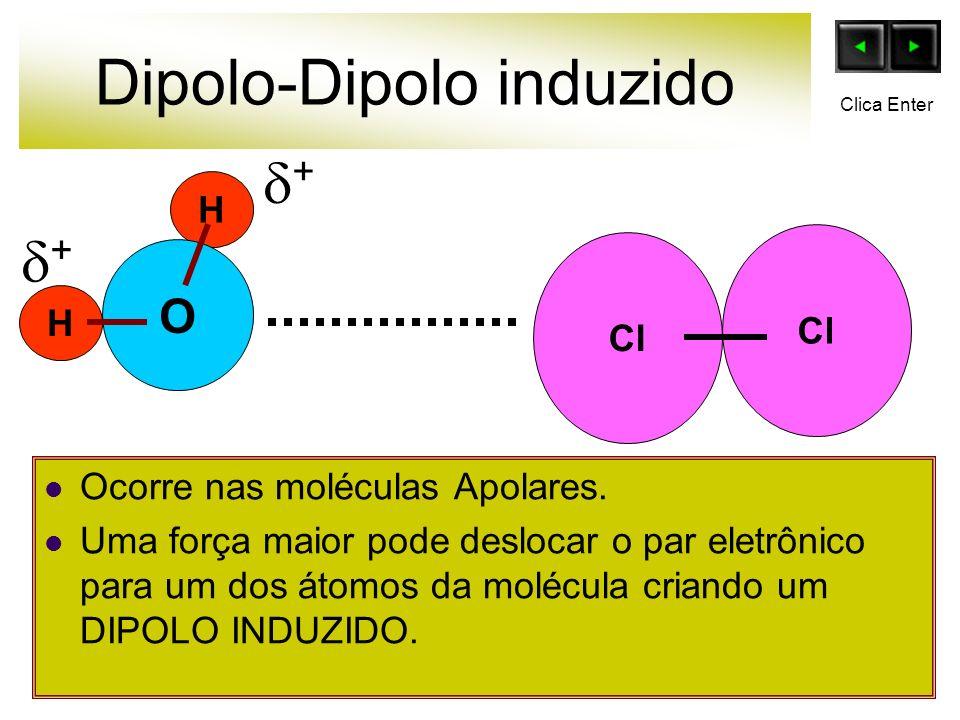 Dipolo-Dipolo induzido Ocorre nas moléculas Apolares. Uma força maior pode deslocar o par eletrônico para um dos átomos da molécula criando um DIPOLO