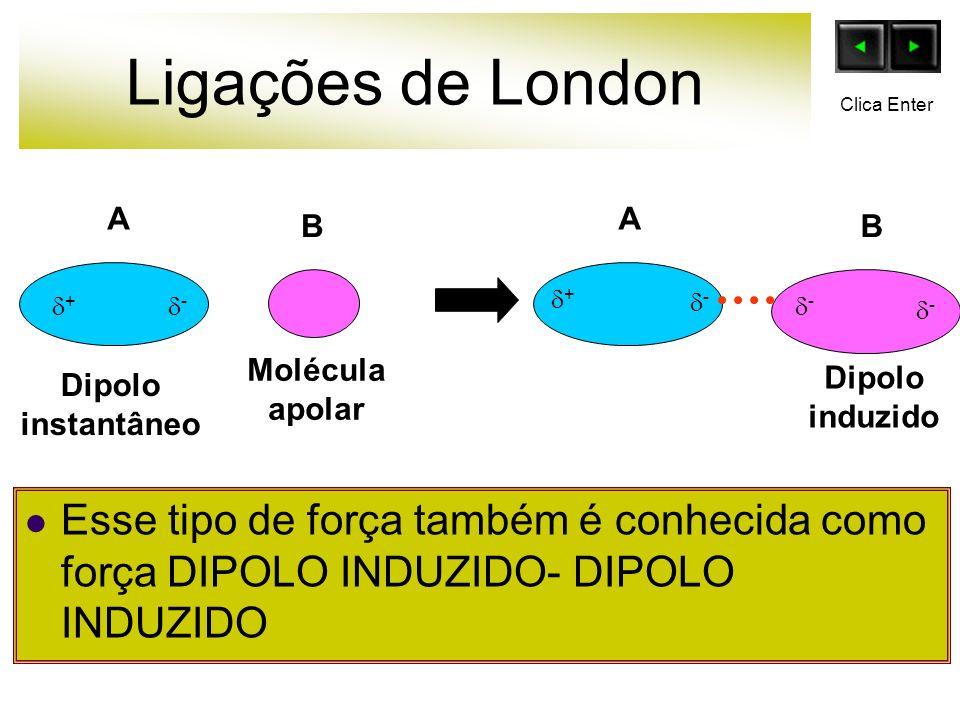 Ligações de London Esse tipo de força também é conhecida como força DIPOLO INDUZIDO- DIPOLO INDUZIDO B Molécula apolar Dipolo instantâneo + + - - - -