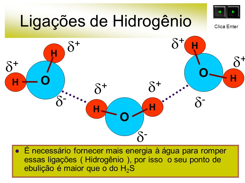 Ligações de Hidrogênio É necessário fornecer mais energia à água para romper essas ligações ( Hidrogênio ), por isso o seu ponto de ebulição é maior q