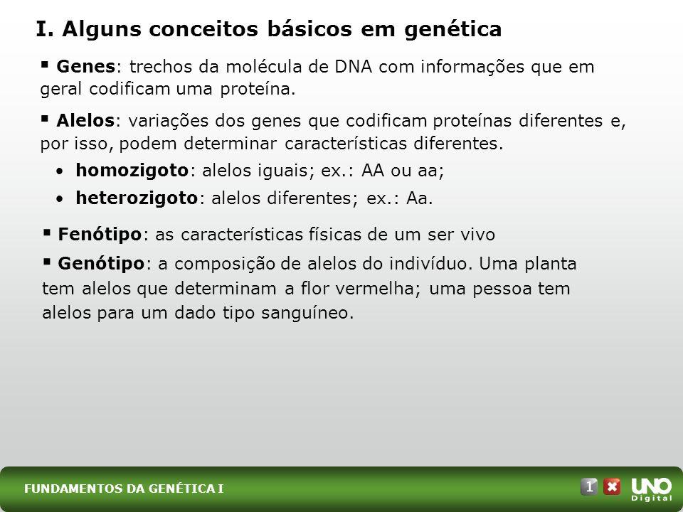 I. Alguns conceitos básicos em genética Genes: trechos da molécula de DNA com informações que em geral codificam uma proteína. Alelos: variações dos g