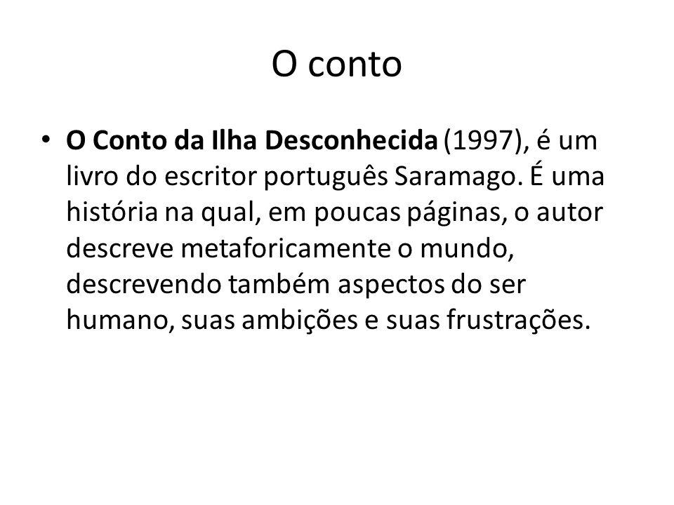 O Conto da ilha descohecida retoma um mote de outro grande autor português Fernando Pessoa: Para viajar, basta existir .
